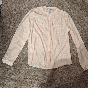 Button up peach leopard print blouse